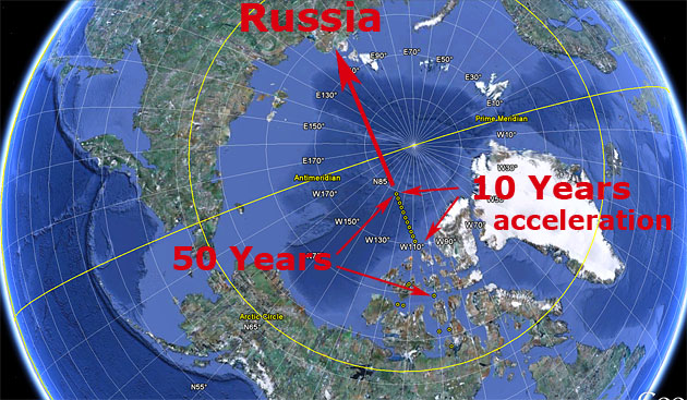 Magnetic north pole is heading to russia